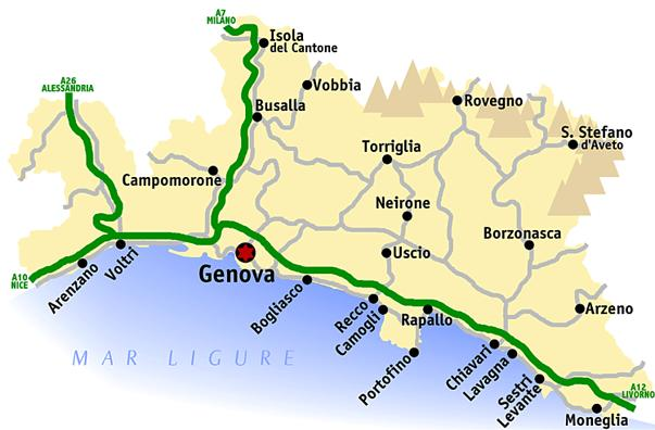 Карта провинции Генуя