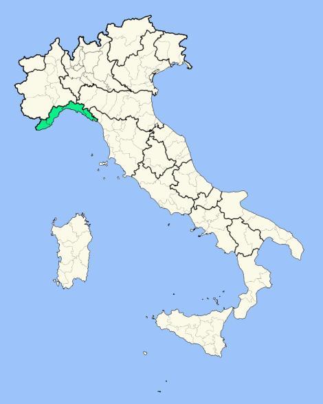 Лигурия на карте Италии